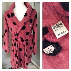 NWT PINK Victoria's Secret Plush Polka Dot Robe S